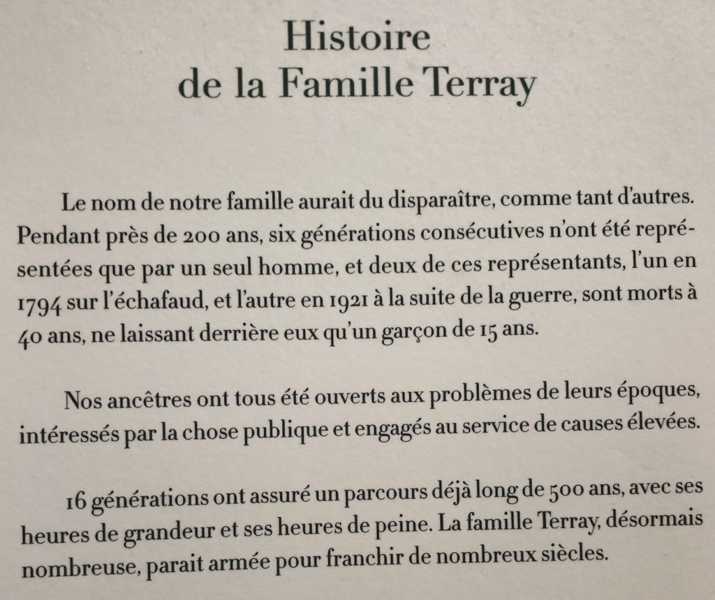 Histoire de la Famille TERRAY