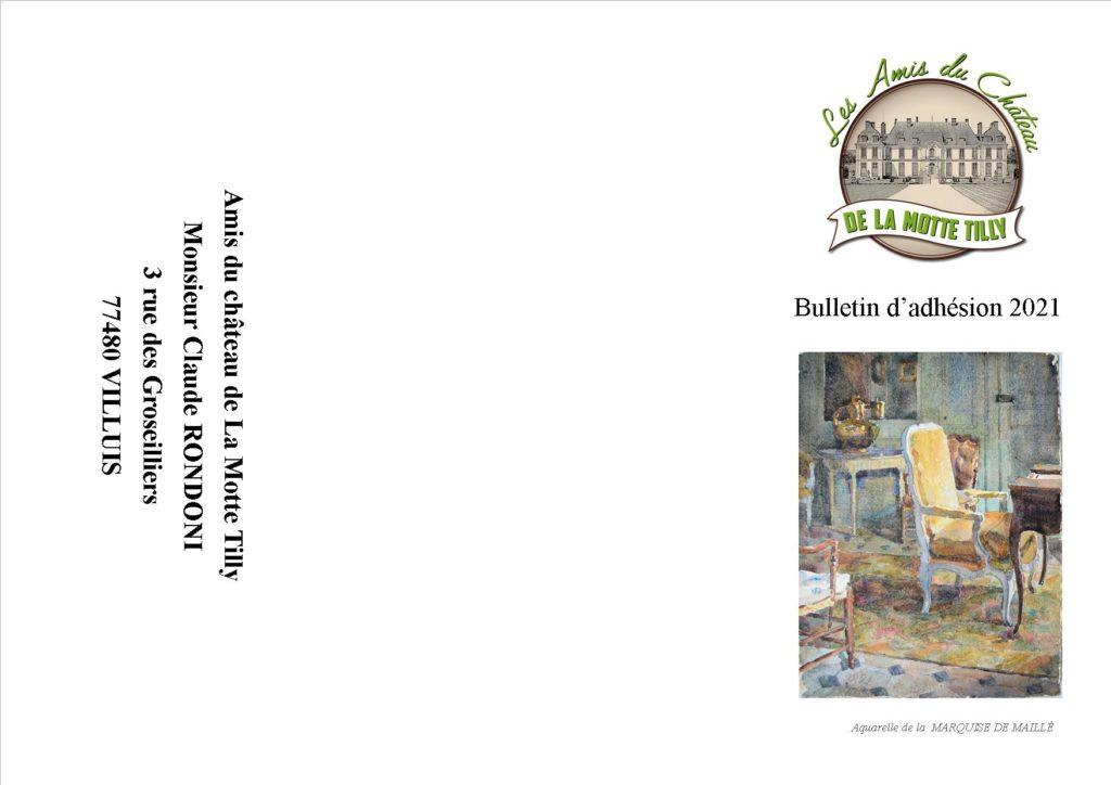 Bulletin adhésion 2021 amis du château